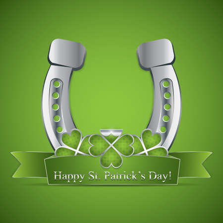 St. Patricks Day ribbon and a horse shoe  Vector