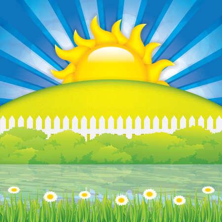 bush mesh: Vector illustration of spring landscape