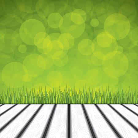 Fresh spring green grass and wood floor.Vector Illustration