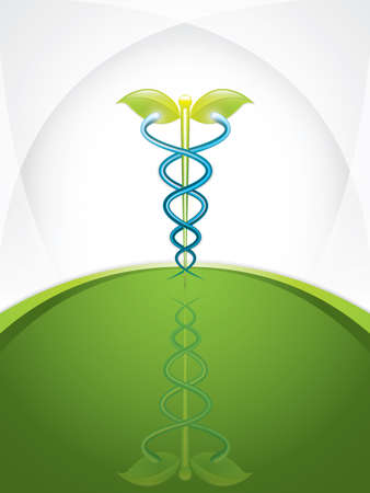 holistic health: Herbal caduceus.Vector
