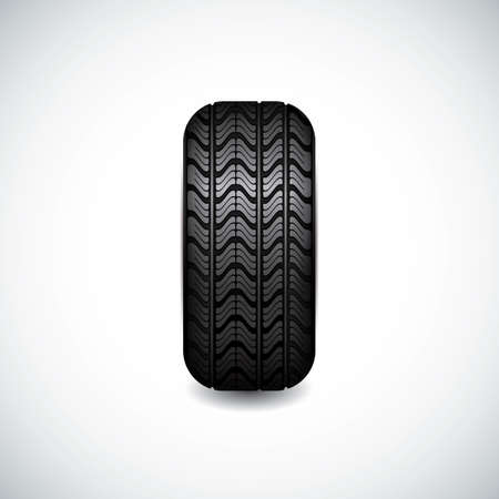 retreading: Black rubber tire on white background, vector illustration