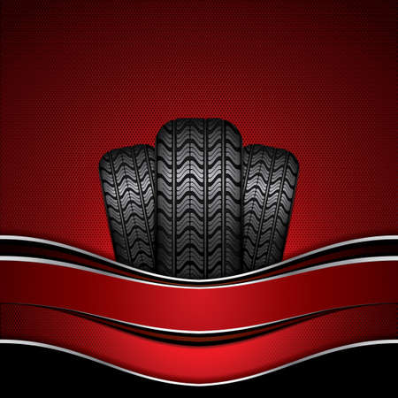 tires: Black rubber tire on red background, vector illustration
