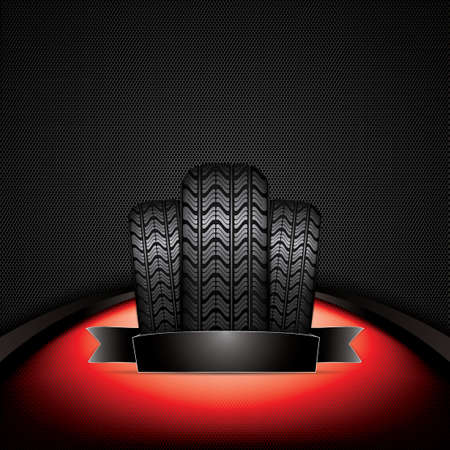 retreading: Black rubber tire on red background, vector illustration