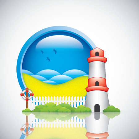 Spring frame with lighthouse and lifebuoy Vector