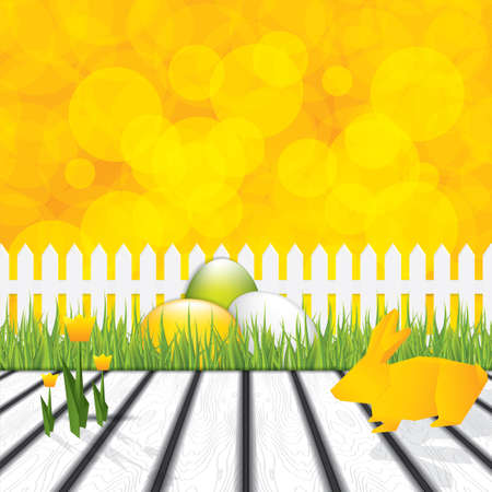 Easter concept with origami bunny and tulips  Vector