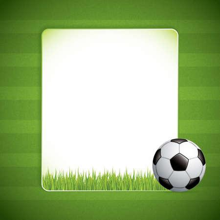 football net: Soccer ball on grass background. Illustration