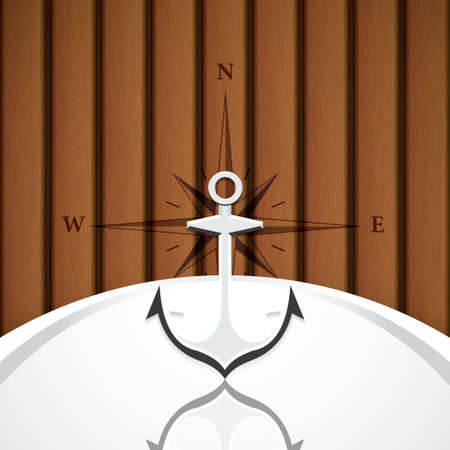 wind rose: Anchor with compass vector