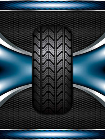 retreading: Black rubber tire on blue background, vector illustration