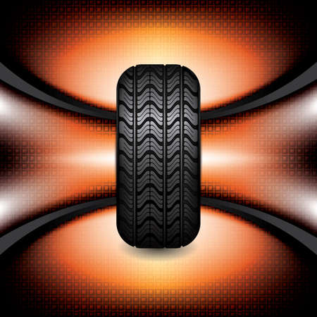 retreading: Black rubber tire on orange background, vector illustration  Illustration