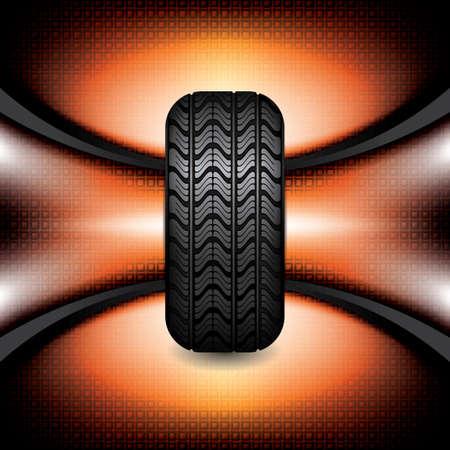 retreading: Black rubber tire on orange background, vector illustration  Illustration