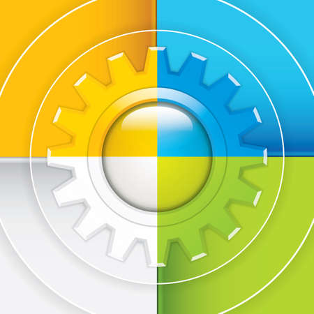 gear box: Presentation Template with four colored text box Business gear vector