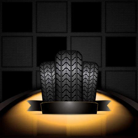 retreading: Black rubber tire on golden background, vector illustration