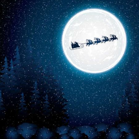 christmas reindeer: Santa Claus rides in a reindeer sleigh Illustration