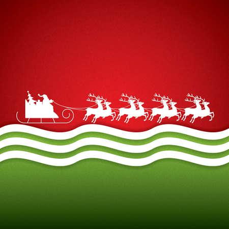 Santa Claus rides in a reindeer sleigh.Vector Vector