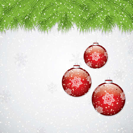 twigs: Christmas background with fir twigs and red balls. Vector illustration.