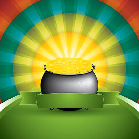 Pot of treasure on rainbow background. St. Patricks Day card vector Vector