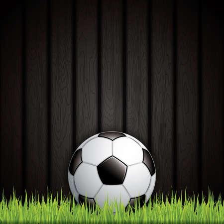 football net: Soccer ball on grass background.Vector Illustration
