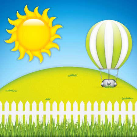 bush mesh: Vector illustration of hot air balloon and green grass meadow Illustration