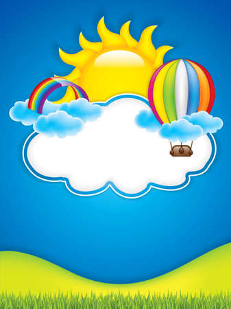 cartoon human: Spring frame with hot air balloon and rainbow.Vector