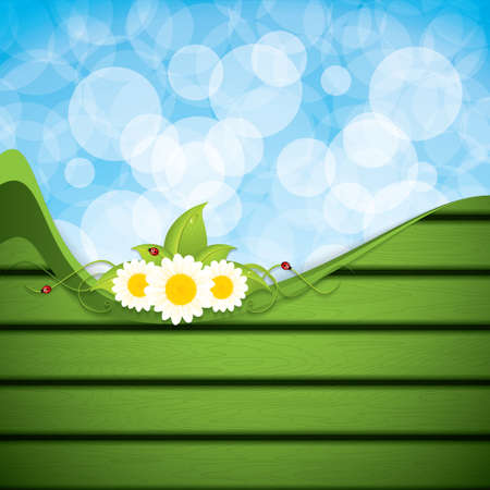 Green leaf frame with flowers.Vector Vector