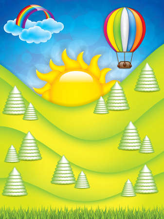 cute cartoon kids frame: Vector illustration of green landscape with hot air balloon and rainbow Illustration