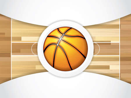 court symbol: A realistic vector hardwood textured basketball court with basketball in the center court