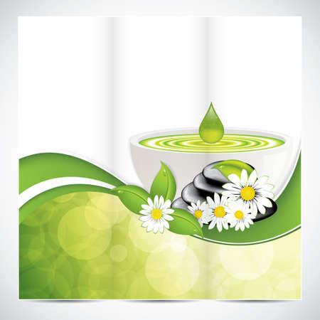 Spa salon schoonheid tri-fold brochure ontwerp met bladeren kom en stenen