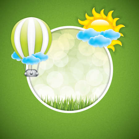 hot announcement: Spring frame with hot air balloon and sun.Vector
