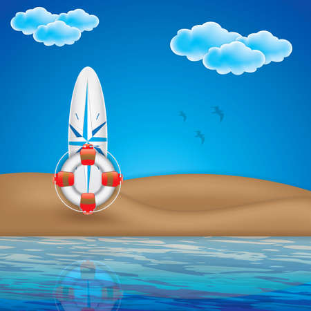beach buoy: Summer beach concept with surfboard and life buoy Illustration