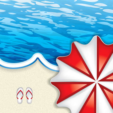 from above: Vacation at the seaside with a red beach umbrella from above and flip-flop on the sand lapped by a blue ocean