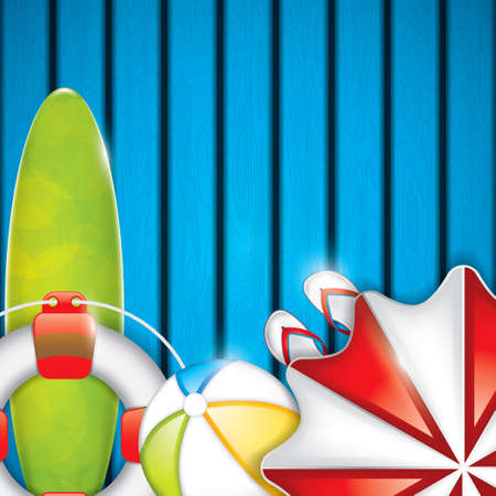 parasol: Summer background with surfboard, parasol and beach ball - vector background