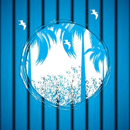 eventide: Summer grunge emblem on a wooden surface - vector illustration