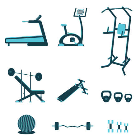 exercise equipment: Fitness sport gym exercise equipment workout flat set concept. Vector illustration