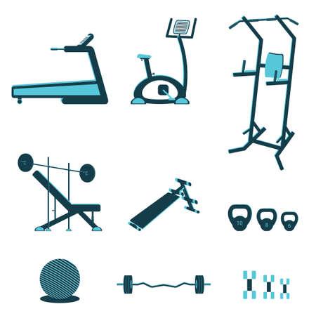 adjustable dumbbell: Fitness sport gym exercise equipment workout flat set concept. Vector illustration