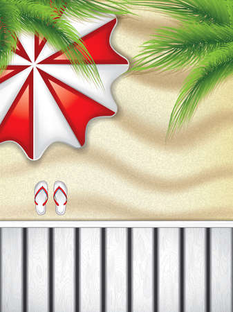 top angle view: Vacation at the seaside with a red beach umbrella from above and flip-flop on the sand Illustration