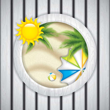 sand beach: Summer frame with parasol and beach ball. Vector Illustration
