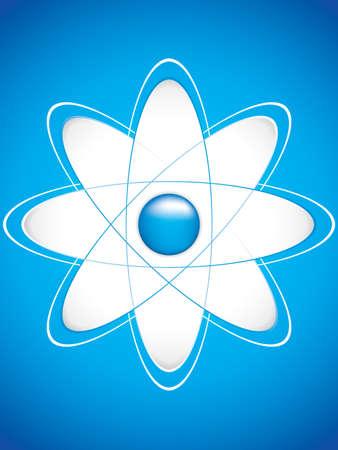 atomic symbol: Atom part on blue bakground.Vector Illustration