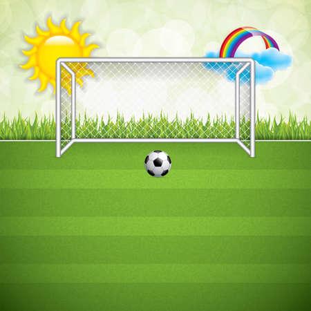 terrain foot: Ballon de football sur herbe background.Vector
