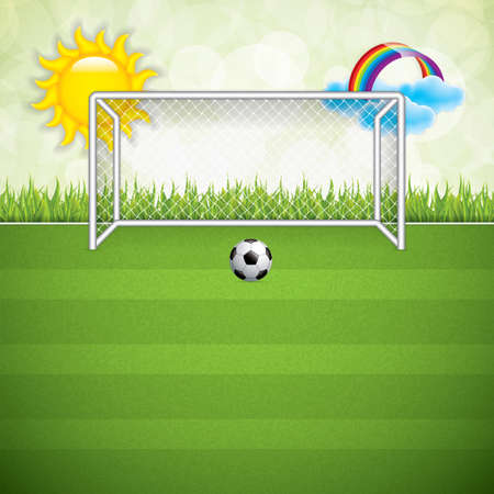 grounds: Soccer ball on grass background.Vector Illustration