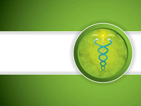 blue green background: Herbal caduceus.Vector