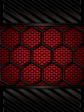 metal: Abstract background, metallic red brochure, vector Illustration