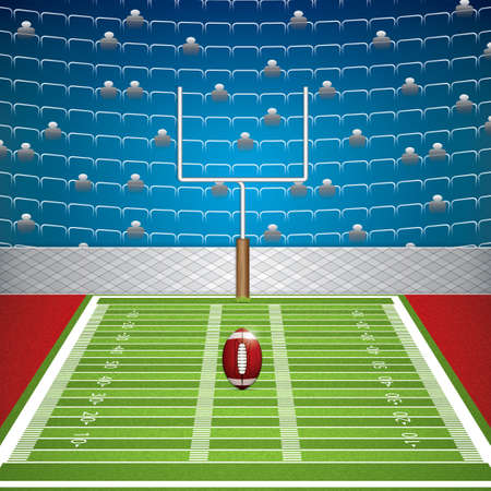 floodlit: American football stadium with detailed ball and goalpost. Vector illustration.