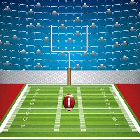 terrain de foot: Stade de football américain avec le ballon détaillée et poteau. Vector illustration. Illustration