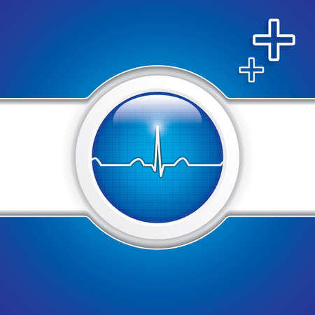 pulsation: Blue diagnostics button.Medical vector Illustration