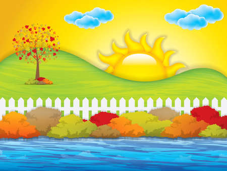 autumn garden: Autumn garden with bushes and fence.Vector