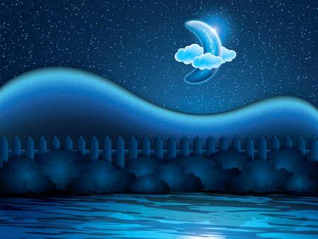 dulces sue�os: Paisaje nocturno con la media luna. Dulces sue�os wallpaper.Vector ilustraci�n