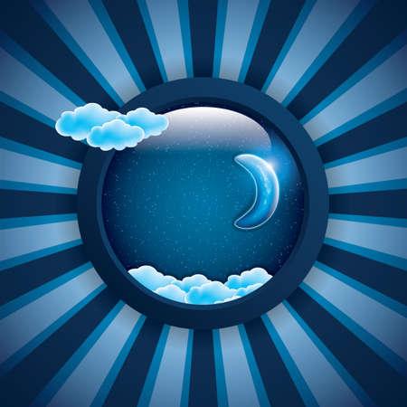 dulces sue�os: Luna, las nubes y las estrellas. Dulces sue�os frame.Vector ilustraci�n