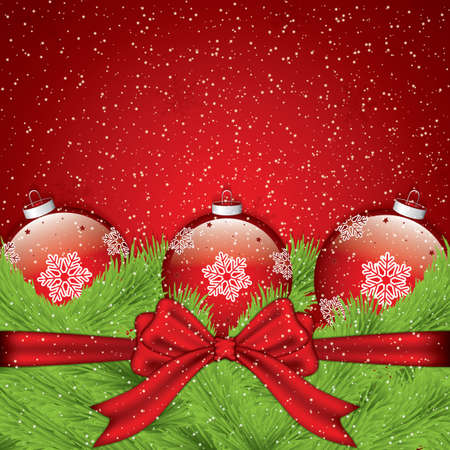 holiday background: Gorgeous holiday background with ribbon and Christmas baubles. Vector illustration.