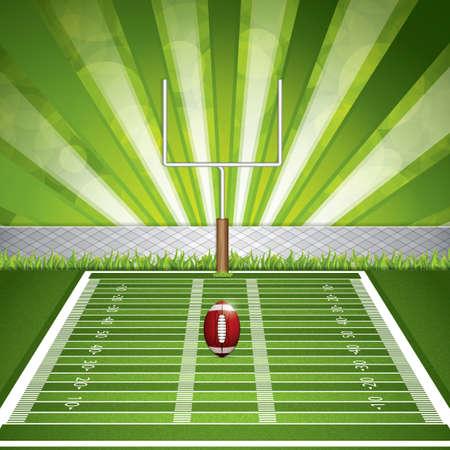campo di calcio: Stadio di football americano con la palla dettagliata e palo. Illustrazione vettoriale.