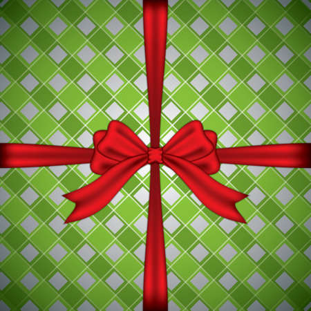 Checkered gift box with red ribbon.Vector